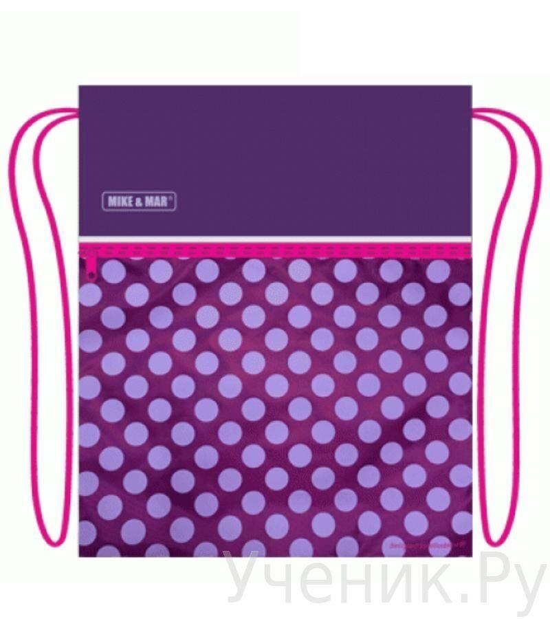 """Мешок для сменной обуви Mike & Mar """"Горошек"""" фиолетовый MB081"""