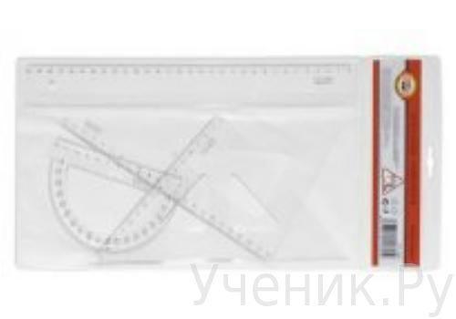 """Набор для левшей чертежный пластиковый прозрачный большой - 4 предмета для левшей """"KOH-I-NOOR"""" (Чехия) 751020"""