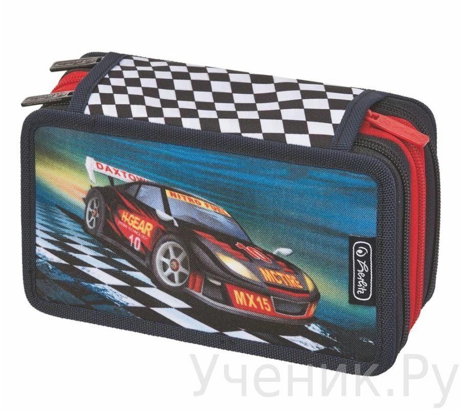 """Пенал школьный Herlitz """"Super Racer"""" с тремя молниями и наполнением Herlitz (Германия) 11438728"""