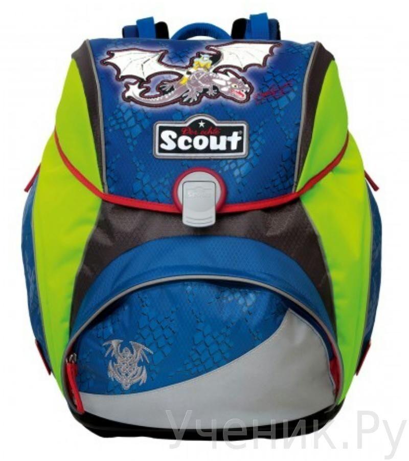 """Ранец школьный Scout модель """"Alpha Exklusiv"""" Active Lite Drache LED с наполнением Scout (Германия) 745005-770"""