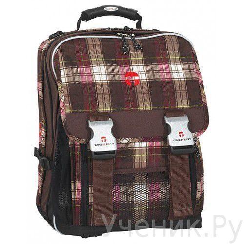 Рюкзак-ранец 'Take it easy' модель 'London' 'Plaid' коричневый.