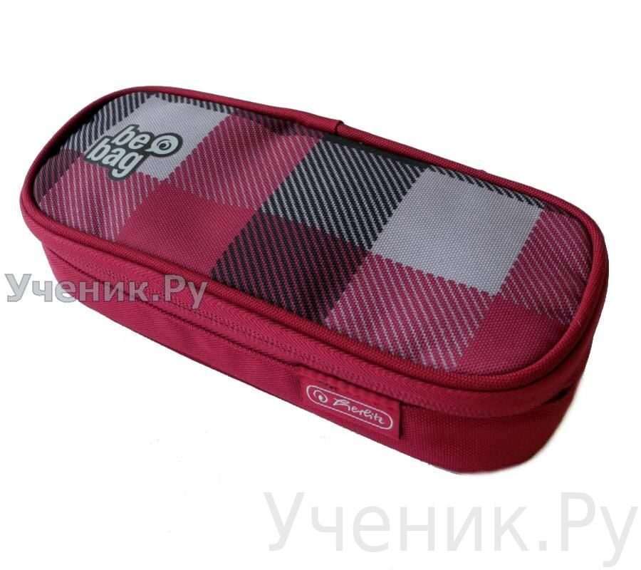 "Пенал школьный Herlitz SOFT CASE CUBE ""Checked"" бордо-серый Herlitz (Германия) 11359643"