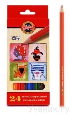 """Цветные карандаши """"Koh-i-Noor"""" """"Собаки и кошки"""" 24 цвета Koh-i-noor (Чехия) 3594/24"""