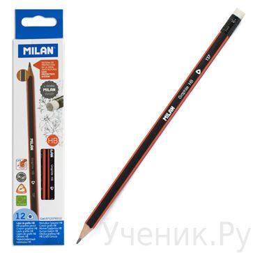 Упаковка 12шт. карандашей чернографитных трехгранных с ластиком, грифель HB (твердо-мягкий), Milan (Испания) 0712370312