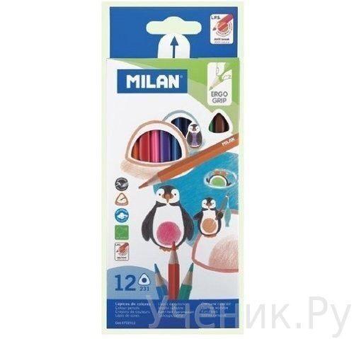 """Цветные карандаши """"Milan"""" трехгранные 12 цветов MILAN (Испания) 722312"""