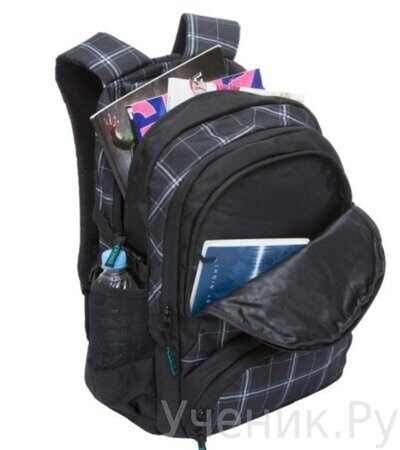 Рюкзак молодежный Grizzly RU-709-1-3 клетка серо - белая-3