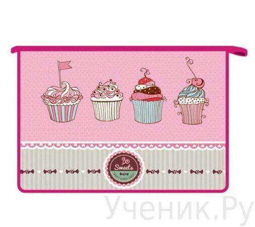 Папка для тетрадей А4 на молнии Оникс ПТ- 815 Sweet cake