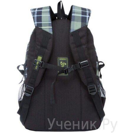 Рюкзак молодежный Grizzly RU-709-1-4 клетка оливково-желтая-2