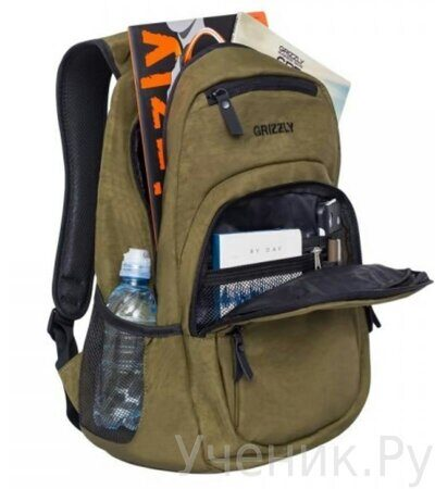 Рюкзак молодежный Grizzly RQ-900-1-2  хаки-2