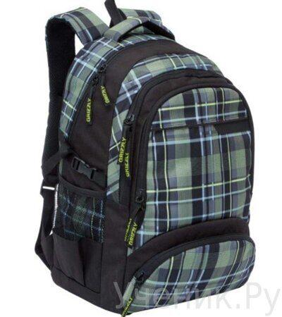 Рюкзак молодежный Grizzly RU-709-1-4 клетка оливково-желтая-1
