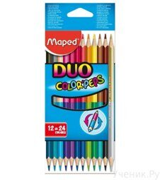 Цветные карандаши MAPED Color Peps Duo 24 цвета, 12 штук