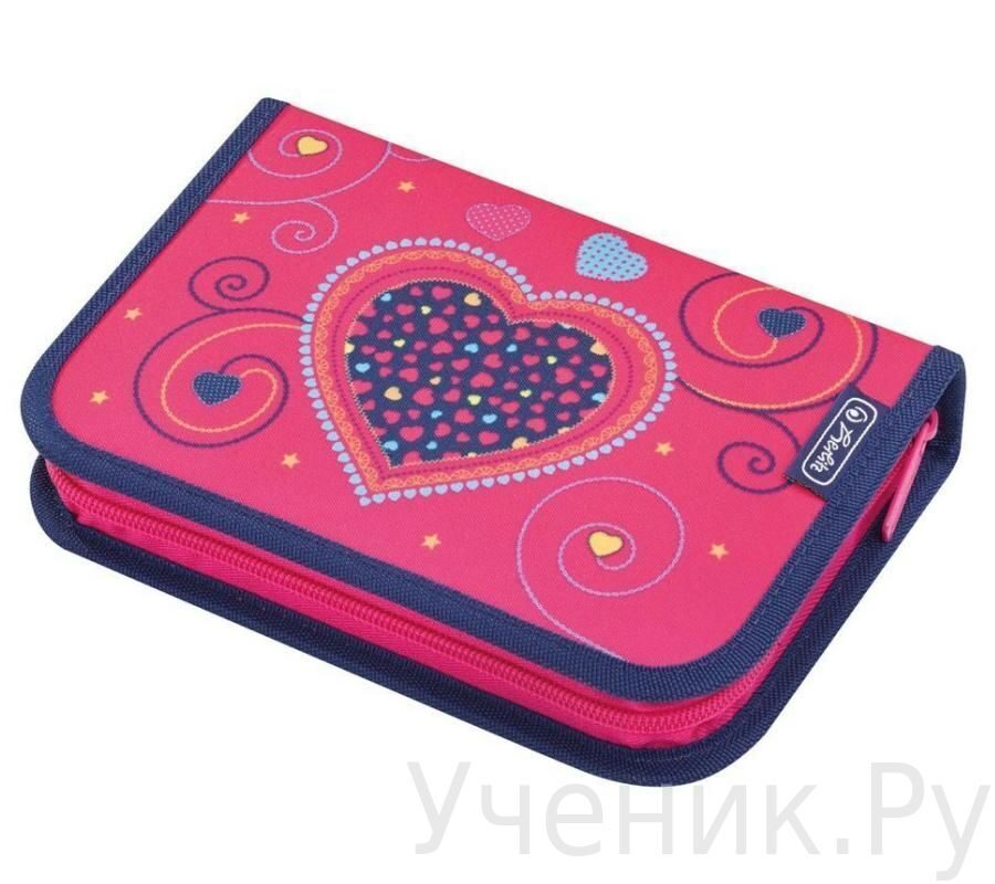 Пенал школьный Herlitz Girls Mix PINK HEARTS (19 предметов)