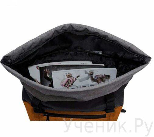 Рюкзак молодежный Grizzly RU-814-1 Черный-оранжевый-3