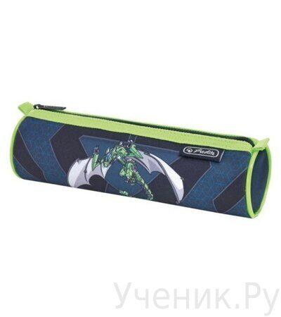 Пенал-косметичка круглый Herlitz Boys Mix Green Robo Dragon